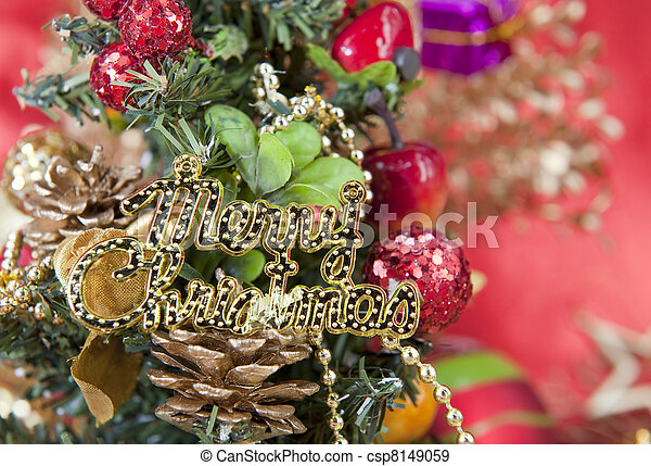 Christmas gift with white background - csp8149059