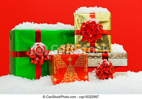 Christmas gift wrapped presents red background christmas gift christmas gift wrapped presents red background csp16322997 negle Images