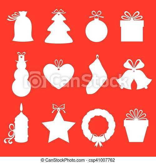 Christmas gifts and labels set on red background - csp41007762