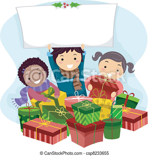 Illustration of kids opening christmas gifts.