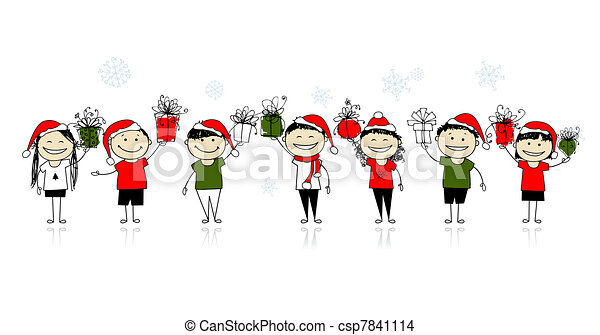 Christmas gifts. Happy friends together - csp7841114