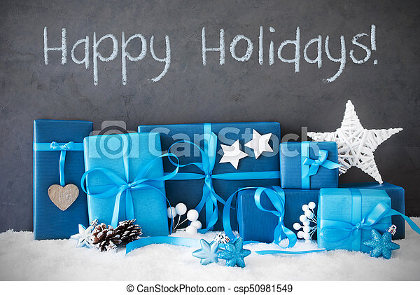 Christmas Gifts, Snow, Text Happy Holidays - csp50981549