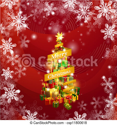 Christmas gifts snowflakes background - csp11800618