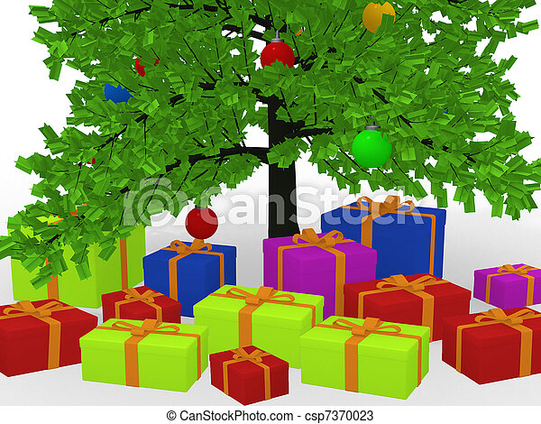 Christmas gifts under decorated christmas tree .