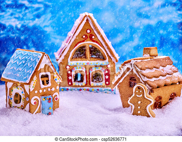 Christmas Gingerbread House Background.Christmas Ginger Bread House Cookies And Gingerbread Man For Xmas