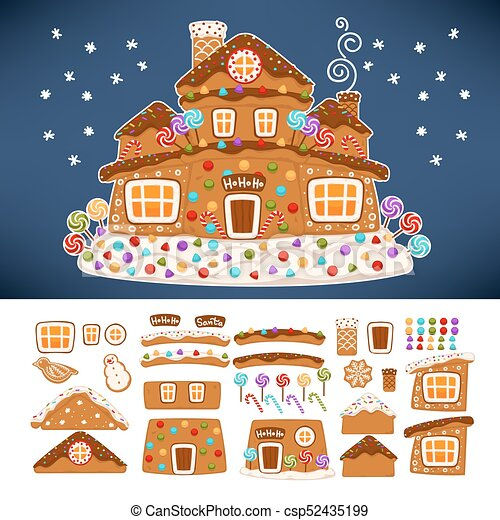 Christmas Gingerbread House Cartoon.Christmas Gingerbread Cookie House Constructor Icons