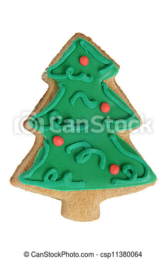 Christmas gingerbread cookie made in the shape of a Christmas tree isolated on a white background - csp11380064