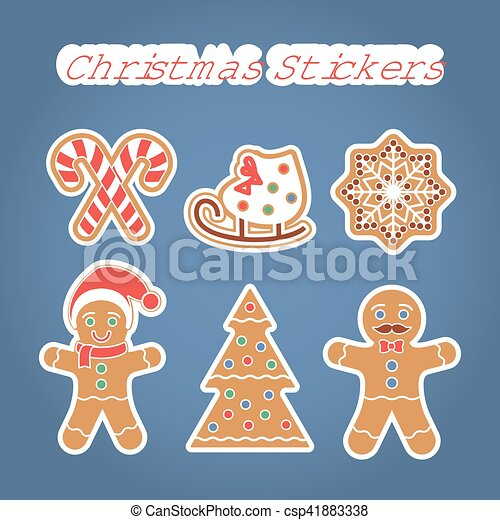 Christmas Gingerbread Cookies Stickers Set