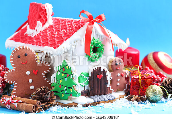Christmas Gingerbread House Background.Christmas Gingerbread House On Blue Background