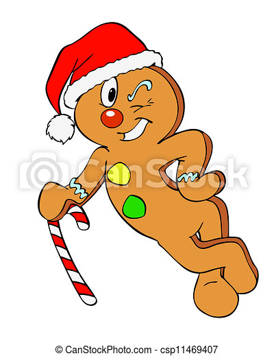 Christmas Gingerbread Man Hand Drawn Cartoon Of A Happy Holiday Cookie