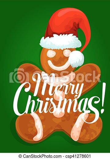christmas gingerbread man in santas red hat csp41278601 - Christmas Gingerbread Man