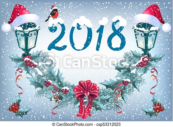 """Christmas glowing lanterns and bullfinch in Santa hat on the snowfall background in retro style with inscription """"2018"""" and christmas garland - csp53312023"""