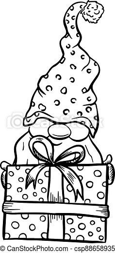 Christmas Gnome Cartoons Black Silhouettes Isolated On White Christmas Gnome Cartoons Black Silhouettes Isolated On White Canstock