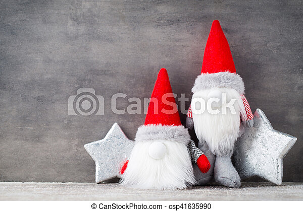 Christmas Gnome Decor.Christmas Gnome Und Santa Hat Christmas Pattern Background On The Gray Color
