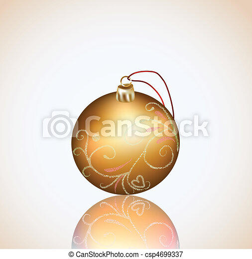 Christmas gold ball on white background. Vector - csp4699337