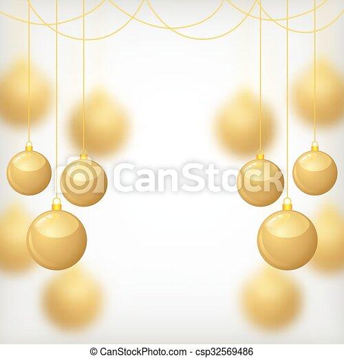 Christmas gold balls on blur background - csp32569486
