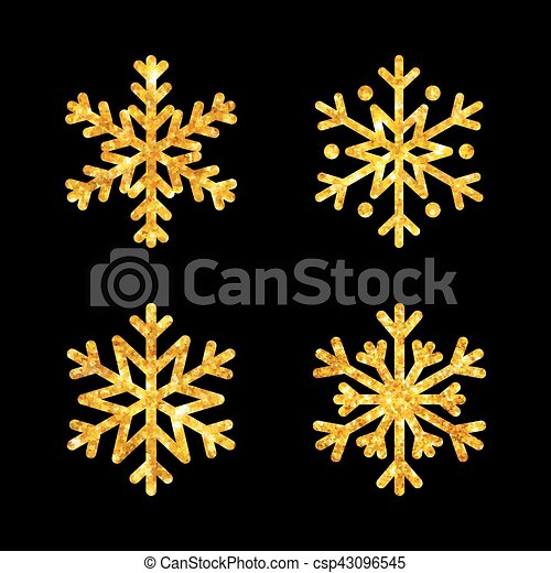 Christmas gold fire snowflakes set isolated illustration - csp43096545