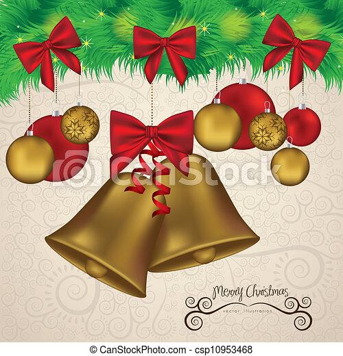 christmas golden bells - csp10953468