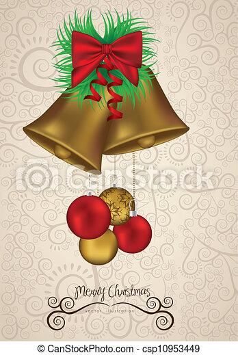 christmas golden bells - csp10953449