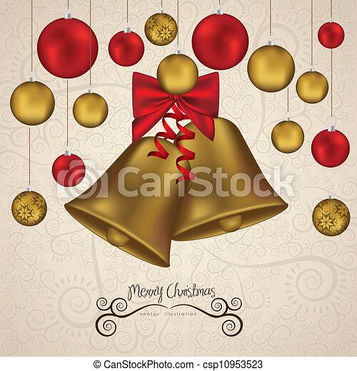 christmas golden bells - csp10953523