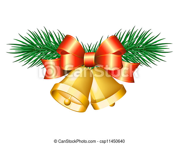 Christmas golden bells with red bows. - csp11450640