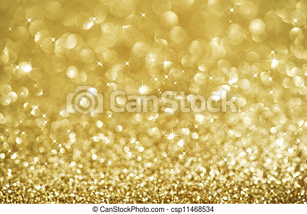 Christmas Golden Glittering background.Holiday Gold abstract texture.Bokeh - csp11468534