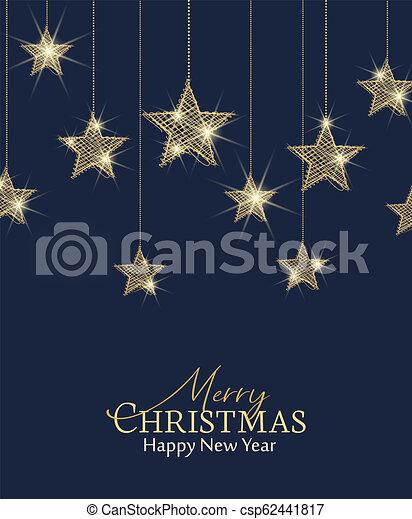 Merry Christmas Background.Christmas Golden Stars