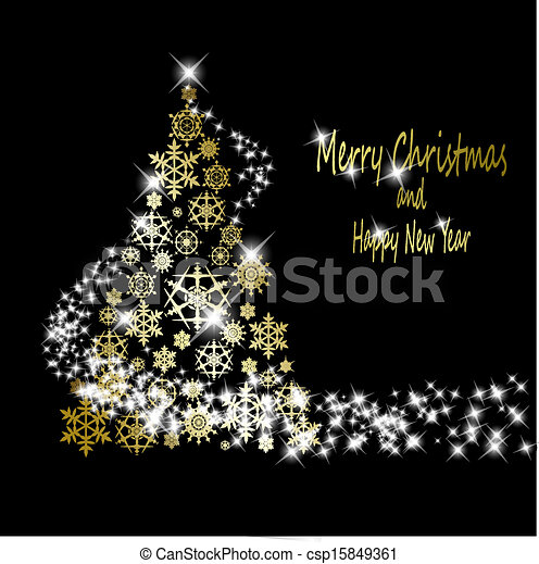 Christmas golden tree made from gold snowflakes with stars on black background. Vector eps10 illustration - csp15849361