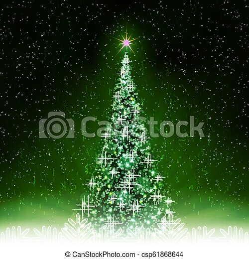 Christmas green card with shiny Christmas tree with rays of light. - csp61868644
