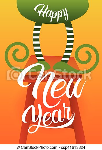 christmas green elf legs holiday happy new year celebration greeting card csp41613324