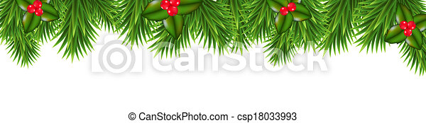 Christmas Green Framework With Holly Berry - csp18033993