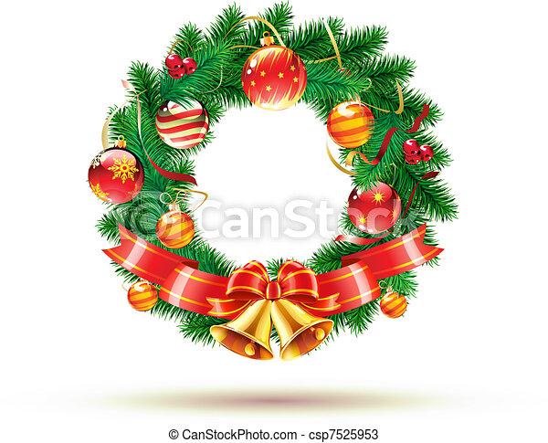 Christmas green wreath - csp7525953