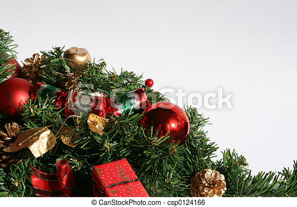 christmas greenery and baubles - csp0124166
