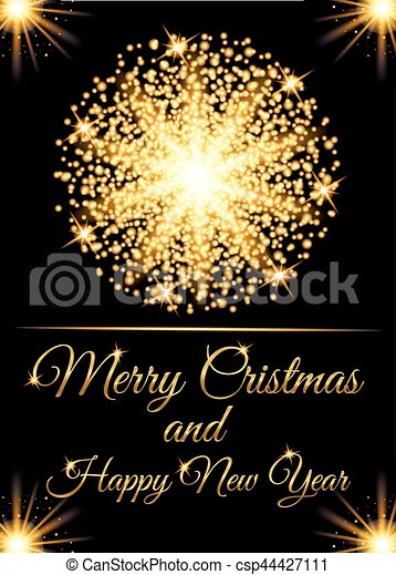 christmas greeting card and happy new year invitation with glow gold particles vector illustration