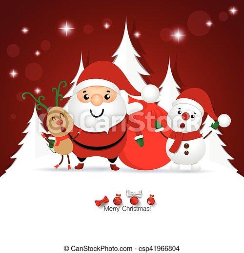 Christmas Greeting Card With Christmas Santa Claus Snowman And