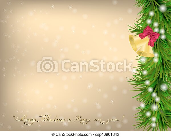 Christmas Greeting card with fir twigs and jingle bells - csp40901842