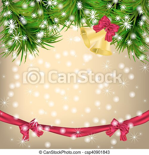 Christmas Greeting card with fir twigs and jingle bells - csp40901843