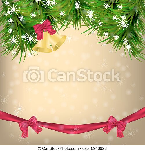 Christmas Greeting card with fir twigs and jingle bells - csp40948923