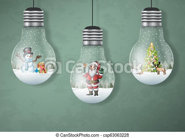 Christmas greeting card with hanging light bulbs - csp63063228