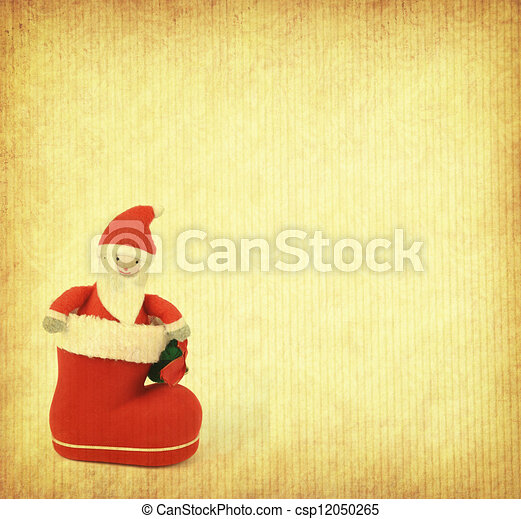 Christmas greeting card with Santa Claus and boot - csp12050265