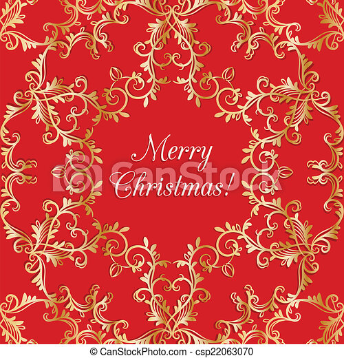 Christmas Greeting card with snowflake, red - csp22063070