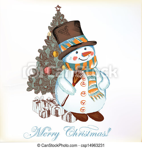 Christmas Greeting Cards Drawing.Christmas Greeting Card With Snowman