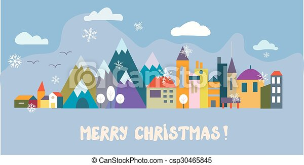 Christmas greeting card with town and snow  - csp30465845