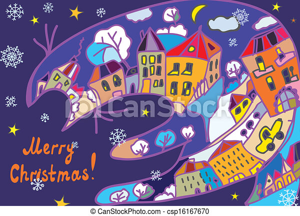 Christmas greeting card with town and cat at the night - csp16167670