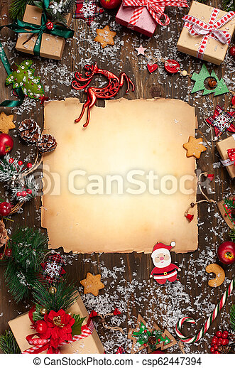 Christmas Greeting Card With Vintage Paper For Letter Santa Claus