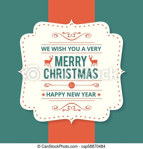 Christmas greetings card with dark green background simple card. - csp58870484