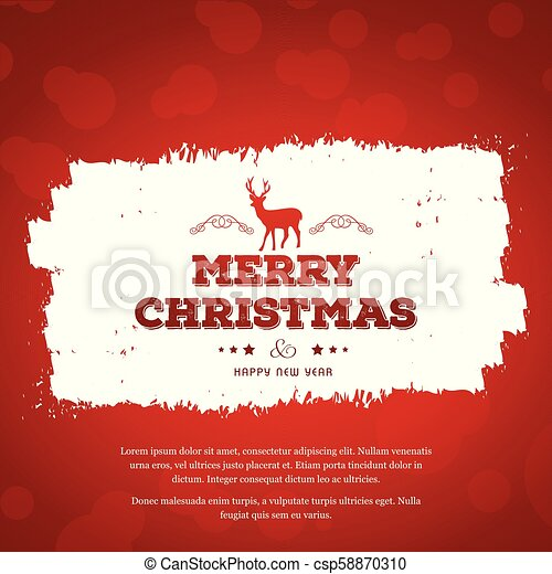 Christmas greetings card with red background red typography with red dear. - csp58870310