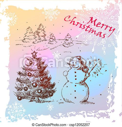 christmas hand drawn card - csp12052207