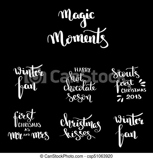Christmas hand drawn lettering Design set  Handwritten Christmas quotes and  wishes modern calligraphy lettering for postcards, tags, blog