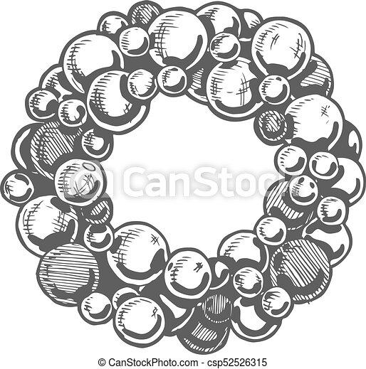 Christmas Hand Drawn Wreath Vector Illustration Of Christmas Wreath